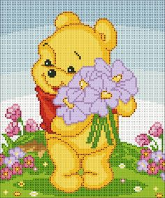 Disney Winnie the Pooh cross stitch. Cross Stitch Love, Beaded Cross Stitch, Crochet Cross, Cross Stitch Animals, Cross Stitch Designs, Cross Stitch Embroidery, Cross Stitch Patterns, Kids Patterns, Canvas Patterns