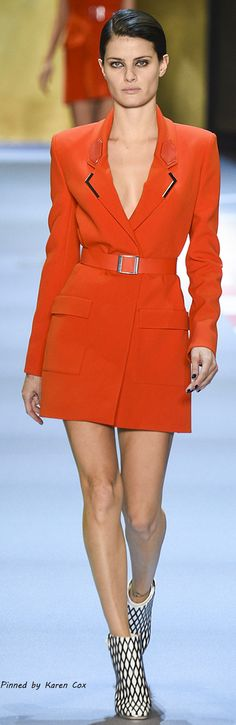 Spring 2016 Ready to Wear Mugler: Red heat: Model Isabeli Fontana
