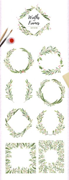 Christmas watercolor set by Kate Macate on @creativemarket Hand drawn watercolor illustrations. Christmas collection (winter leaves and branches). Set of watercolor elements and design templates. Perfect for invitations, greeting cards, quotes, tattoo, textiles, blogs, prints, posters etc. ❤ Affiliate ad link. Christmas greeting / holiday invitation / custom invites & products #christmas #holiday #invitations
