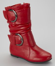 Take a look at this Lucky Top Red Data Buckle Boot on zulily today!