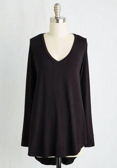 Embracing Basic Top in Black - Jersey, Knit, Mid-length, Black, Solid, Casual, Lounge, Long Sleeve, Better, Variation, V Neck