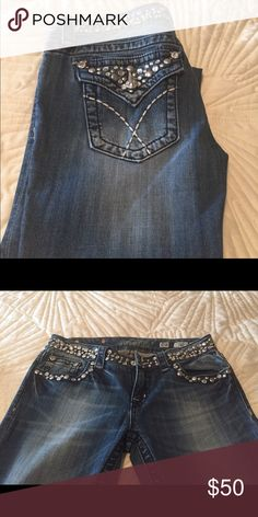 Miss Me sexy Rhinestone Jean Miss Me hot rhinestone studded Jean at top of waist and pockets! Low rise and straight fit! Miss Me Jeans Straight Leg