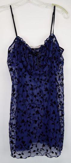 Victoria's Secret Small Sheer Blue Black Floral Chemise Nightie #VictoriasSecret #BabydollChemise