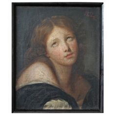 19th Century Portrait of Maria Magdalena | From a unique collection of antique and modern paintings at https://www.1stdibs.com/furniture/wall-decorations/paintings/ 19th Century Portrait of Maria Magdalena  Offered By Reza's Rug Gallery  $15,000