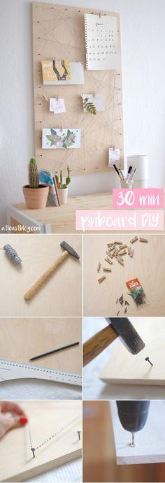 at / least – Pinboard DIY: Memoboard selber machen – … - Mobel DIY Ideen Diy Simple, Easy Diy, Pinboard Diy, Diy Y Manualidades, Ideias Diy, Diy Pins, Diy Room Decor, Home Decor, Diy Furniture