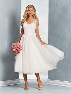 Alfred Angelo Style 2625 Tulle Tea Length Wedding Dress With Sheer Yoke And Sweetheart Neckline