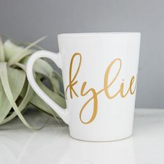 Sip your favorite tea, coffee or even hot cocoa in style with our personalized mugs. Features your name in a beautiful calligraphy script. These make lovely gifts as well! Great bridesmaid gifts, host