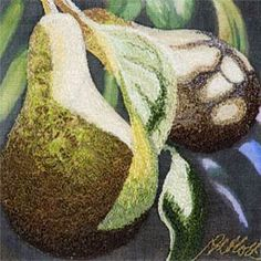 Sunlit Pears - machine embroidery