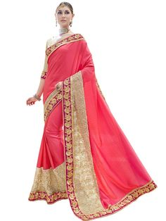 Buy Apparels- Pink Colour Fancy Heavy Designer Saree With Cut Paste Work