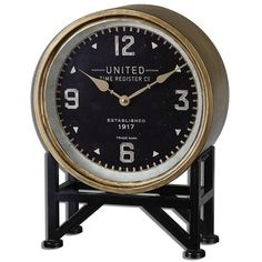 Pembrook Table Clock ($144) ❤ liked on Polyvore featuring home, home decor, clocks, battery powered clock, hand clock, home decorators collection, metal clock and metal stand