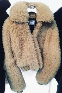 Pinterest: meerilouhivuori ♡ Instagram: meerilouhivuori ✨ Flauschiger Mantel, Leather Fur Jacket, Faux Fur Jacket, Acne Studios, Old Navy Toddler Girl, Acne Coat, Teddy Bear Jacket, Fur Bomber, Bomber Jacket Outfit