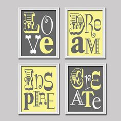 Yellow Grey Love Dream Inspire Create Colorful Bold Life Quote Print Typography Artwork Set of 4 Prints WALL Decor ART Pictures Bedroom