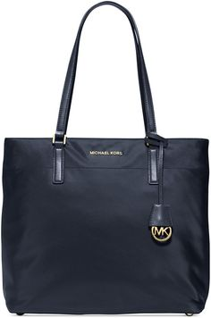 $178, Navy Canvas Tote Bag: MICHAEL Michael Kors Michl Michl Kors Morgan Large Tote. Sold by Macy's. Click for more info: https://lookastic.com/women/shop_items/247870/redirect
