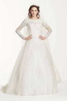 e8c7b5e2f3649 Jewel Long Sleeve Drop-Waist Tulle Chanel Wedding Dress, 2015 Wedding  Dresses, Tulle