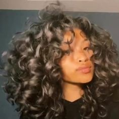 3a Curly Hair, Curly Hair With Bangs, Colored Curly Hair, Curly Hair Styles, Natural Hair Styles, Curly Hair Side Part, Curly Blonde, Dyed Natural Hair, Natural Curls