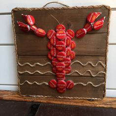Items similar to Beer Bottle Cap Lobster, Lobster Wall Art, Bottle Cap Wall Art, Nautical Red Bud Light Cap Lobster, Red Lobster Wall Art on Wooden Board on Etsy Beer Cap Crafts, Beer Bottle Crafts, Bottle Cap Projects, Cork Crafts, Fun Crafts, Diy And Crafts, Diy Bottle, Beer Cap Art, Beer Caps