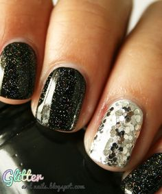 glitter new years eve nails. I did this to my nails the other day and now i found it on here.. I did the silver nail on my middle finger and the rest black sparkle