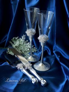 Snowflakes Winter Wedding Champagne Glasses Winter by LaivaArt