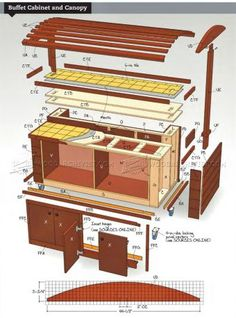 #2234 Rolling Outdoor Buffet Table Plans - Outdoor Furniture Plans