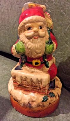 Vintage Painted Ceramic Mold Santa Claus Figurine in Chimney