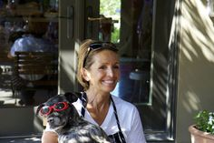 Andrea Mugnaini with Elle the resident dog at the Healdsburg, CA cooking school.