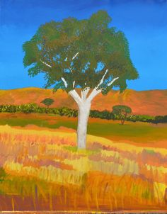 Orignal Australian art : Gum Tree  in outback by Ashroc on Etsy