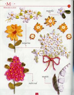 Gallery.ru / Фото #14 - Flores de la A a la Z - Orlanda Ribon Embroidery, Ribbon Embroidery Tutorial, Embroidery Stitches, Embroidery Designs, Ribbon Art, Ribbon Crafts, Flower Crafts, Fabric Artwork, Creative Embroidery