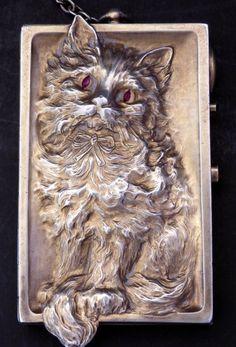 Figural Cat Silver & Ruby Eyes Vanity Compact by LOUIS KUPPENHEIM