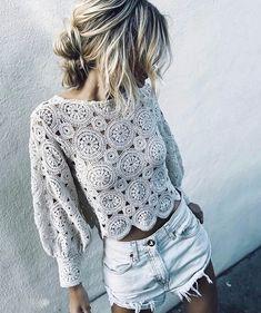 ✔ Fashion Style Women Over 20 Pull Crochet, Gilet Crochet, Mode Crochet, Crochet Blouse, Knit Crochet, Zara Tops, Top Fashion, Crochet Fashion, Bikinis Crochet