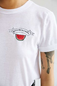 Love puns? Say so with this punny watermelon shirt featuring an embroidered watermelon set on a classic white tee.
