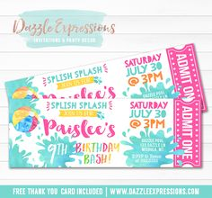 Printable Pool Party Watercolor Ticket Birthday Invitation | Water Park Invite | Beach Ball | Girl Pool Ticket Invite | Waterpark | Swimming | Splash | Water Slide | Summer Water Party | FREE thank you card included | Printable Matching Party Package Decorations Available! Banner | Signs | Labels | Favor Tags | Water Bottle Labels and more! www.dazzleexpressions.com