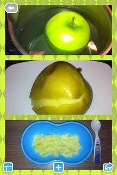 Papinha de maçã verde!  Coloquei 1 maçã verde já higienizada, em uma panela com água filtrada por aproximadamente 10 minutos. Depois descasquei, piquei e amassei com garfo.  Rica em aminoácidos, cálcio, ferro, pectinas, magnésio, fósforo, potássio, flavonóides e muitos outros componentes.