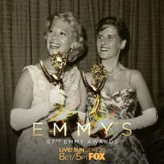 Radiant: Dinah Shore and Ann B. Davis at the 10th Emmys, 1958  Watch the 67th #Emmys – Sunday, Sept 20, on @foxtv.  #dinahshore #actress #supporting #bobcummingsshow #annbdavis #comedienne #comedian #chevyshow #cinemagraph
