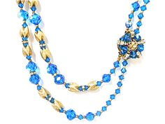 Vintage Faceted Blue Crystal Bead Multi by JuliettesJewelsShop, $35.00