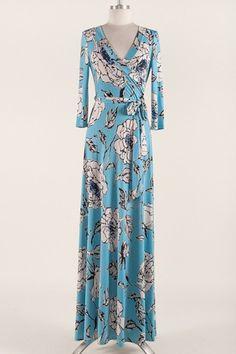 Olivia Sketch Artist Floral Wrap Maxi Dress