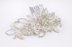 Bridal Hair Comb with Taupe Accents