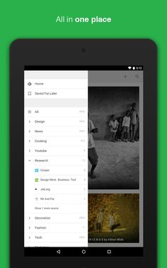 Feedly Android Application Navigation Drawer UI Design