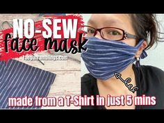 How to Make a Face Mask from a T-Shirt These are the best EASY homemade face mask videos! Click through for hand sew, machine sew, and no sew options anyone can make. Easy Homemade Face Masks, Easy Face Masks, Diy Face Mask, Diy Mask, Sewing Hacks, Sewing Tips, Sewing Projects, Sewing Ideas, Craft Projects