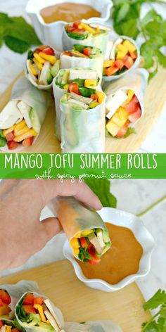 Mango Tofu Summer Rolls are a delicious warm-weather vegan appetizer or meal. Choose your favorite fillings, roll them up, and dip in a spicy peanut sauce. via @VeggiesSave