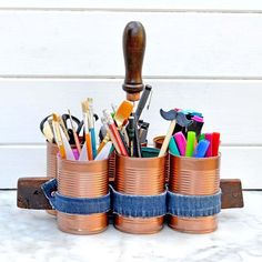 Upcycle tin cans into a rustic organization caddy
