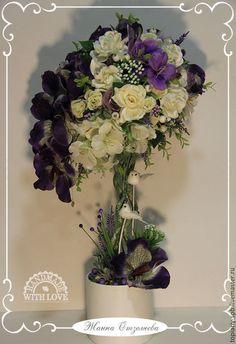 """Топиарии ручной работы. Ярмарка Мастеров - ручная работа. Купить Топиарий """"Фиолетовые орхидеи"""", дерево счастья. Handmade. Тёмно-фиолетовый"""