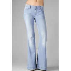 7 For All Mankind Biancha Wide Leg In Drapey Light Aquamarine ($119) ❤ liked on Polyvore
