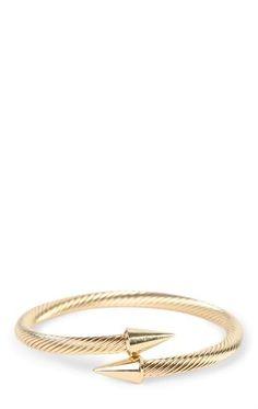 Deb Shops Wrapped Metal Bracelet with Spike Arrow Ends $6.00