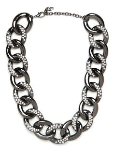 Youre going to love this luxe take on the edgy chain-link necklace. Not only does this feature gorgeous hematite curb links, but theyre nicely embellished with pav crystals, too. All Spring Cleaning Sale items are FINAL SALE ONLY.  You cannot use Vault Points on Spring Cleaning Sale items.
