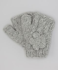 Another great find on #zulily! Gray Gloria Cable-Knit Wool Fingerless Mittens by Little Cotton Dress soo cute #zulilyfinds