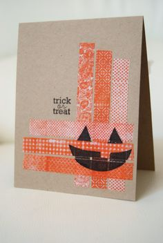halloween card -  washi tape thinking I'll use paper and weave it in the corner