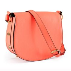 Vibrant coral cross body Beautiful  faux- leather coral cross body with gold stud feature H&M Bags Crossbody Bags