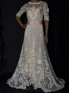 Lace Embroidered Tea Gown