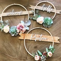 Succulent Wreath with Family Name or Custom Greeting - Custom Wreath - Hoop Wreath - Custo Wood Crafts buy ribbon Diy Wreath, Door Wreaths, Wreath Ideas, Embroidery Hoop Crafts, Wedding Embroidery, Simple Embroidery, Embroidery Ideas, Embroidery Stitches, Etsy Embroidery