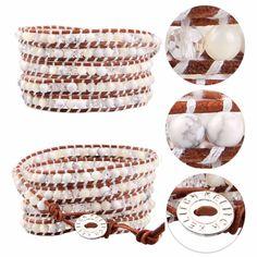 Kelitch Mother of Pearl Beads on Leather Fashion 5 Wrap Bracelet Chain Jewelry #Kelitch #BangleBeadedchaincharm
